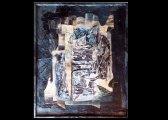 (2) - Collage, 90 x 130 cm, papiers, encre sur bois