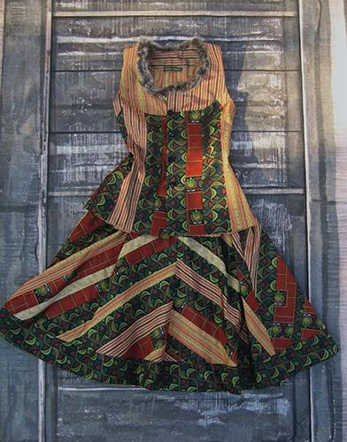 Ensemble jupe et corsage composé de bandes de laines japonaises assemblées