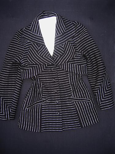 Veste rayée en crêpe de laine